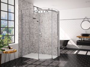Merlyn 10 Series 1 Door Offset Quadrant Shower enclosure in a contemporary bathroom